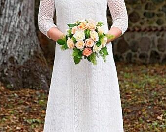 Hand knitted festive/ wedding dress, fine  natural white wool, Haapsalu shawl patterns. CUSTOM MADE