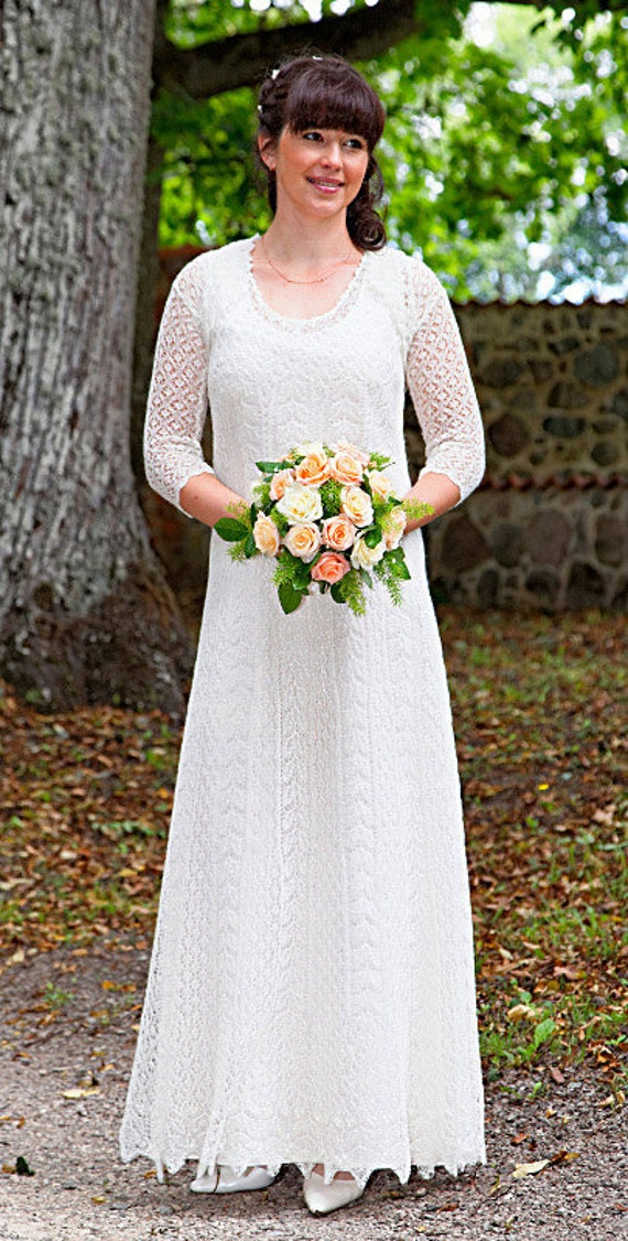 Hand knitted festive/ wedding dress fine natural white wool