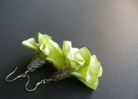 Light lime color  earrings with handmade textile blossom