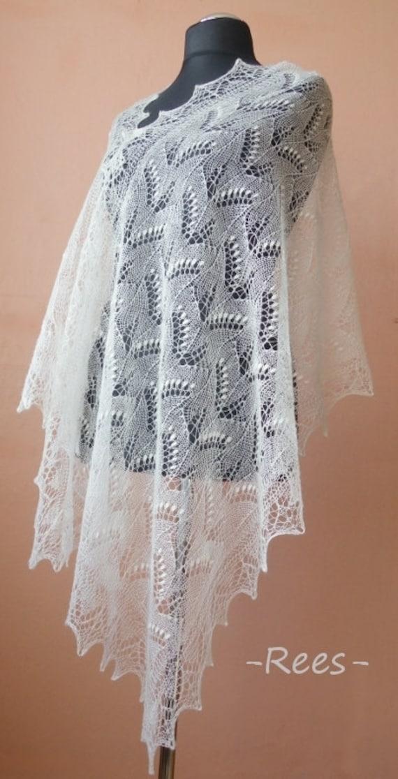 Hand knitted natural white Haapsalu shawl made with Ingrid Rüütel pattern CUSTOM ORDER