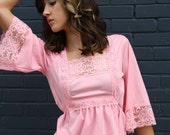 SALE was 25.00 vintage 1970s FARRAH pink lace batwing blouse