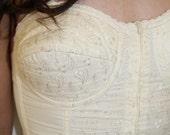 RESERVED for GirlCanthelpit     was 20.00 vintage 1950s VANILLA CREAM strapless bustier bra