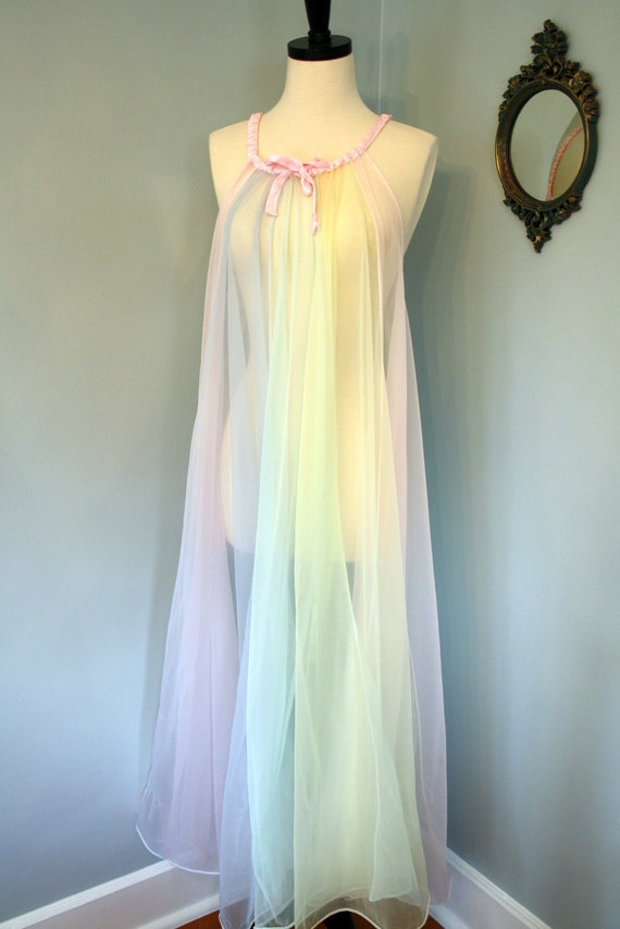 60s chiffon nightgown  plus size negligee rainbow pastel pink lingerie sheer pin up size large