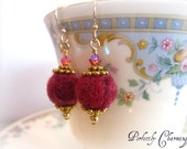 SALE.....Earrings VERY BERRY Whimsical Felted Bead 14K Gold Filled