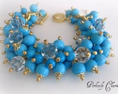 Bracelet TURQUOISE TREASURE Cluster of Beautiful Chalk Turquoise, Gold and Swarovski Crystals