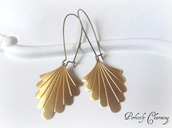 Earrings ART DECO Beautiful Brass Scalloped Fan Vintage Style