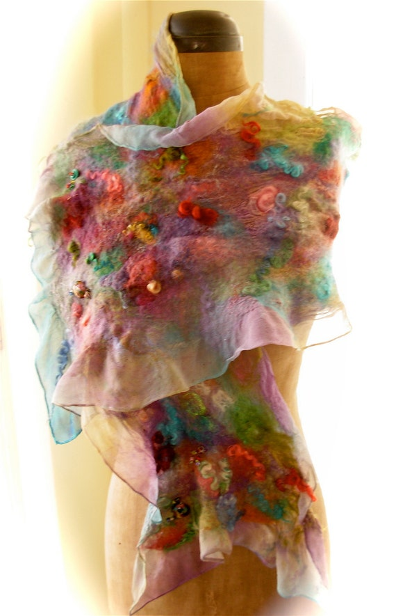 items similar to nuno felted silk chiffon scarf wool