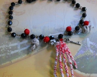 Handcrafted Skeleton hand glass beaded necklace