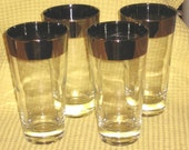 PARTY TIME...Set of 4 vintage drinking glasses with silver rims