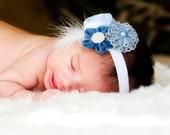 Vintage Inspired Blue Fabric Flowered newborn Headband, baby hair accessorie, little girl stretch headband, photo prop, toddler headband