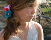 Pink Purple and Blue Felt flowers, BLOOMS hair Clips - perfect girl hair accessorie to mix and match for Spring