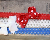 Fourth of July SALE - Set of Three Lace Stretch Headband PLUS TWO Classic Bows-Newborn, Baby and Toddler Headbands-Infant hair bow