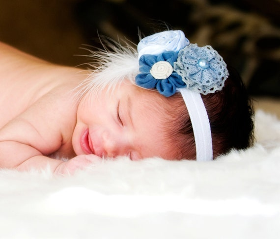 Vintage Inspired Blue Fabric Flowered newborn Headband, baby hair accessorie, little girl stretch headband, photo prop, toddler headband