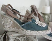 French Sugar Parisian Upcycled Hippie/Boho Blue Jean Espadrille Shoes Embellished with Vintage Lace - Altered Couture