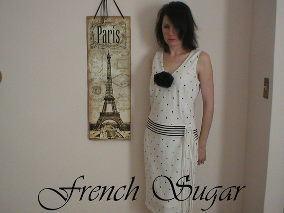 On HOLD for TIFF French Sugar Parisian Up-Cycled  Poka-Dot White Linen Dress - Altered Couture