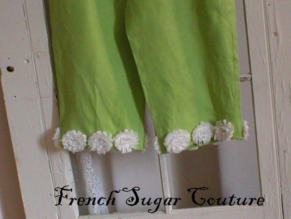 ON HOLD for TIFF French Sugar Couture - Parisian Pantaloons in White and Apple Green Linen  with White Roses- Altered Couture