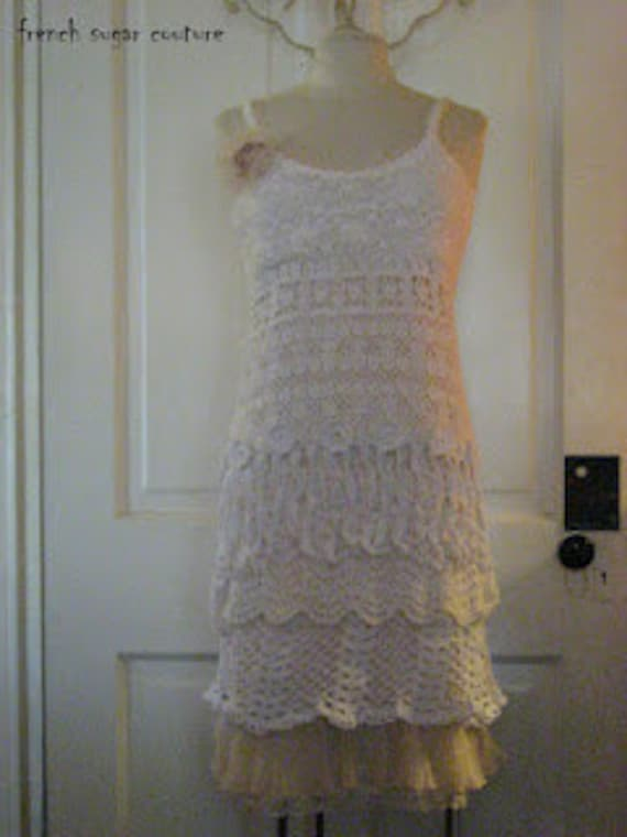 French Sugar Parisian Upcycled Altered Couture Crochet Slip Dress - One-of-A-Kind