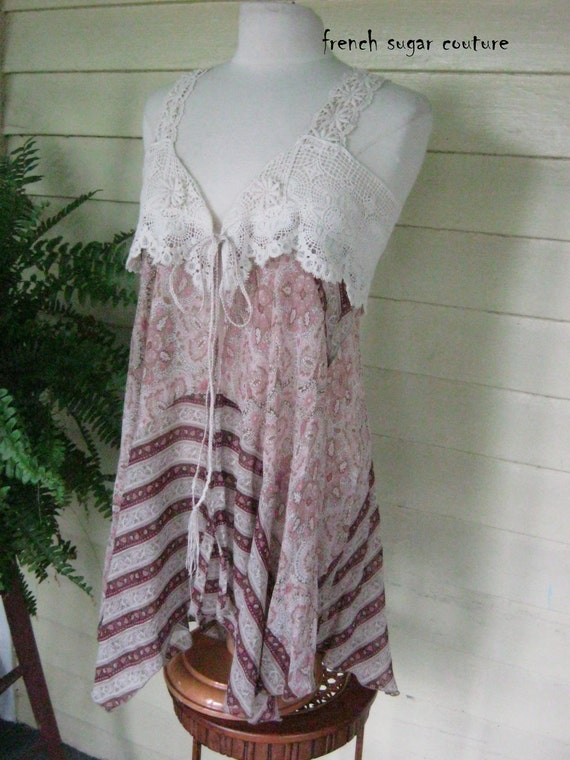 French Sugar Parisian Floral Upcycled Lace and Fabric Vest - Altered Couture