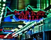 Fine Art Print - Pike Place Market - Neon Market Grill sign in green and red - 5 x 7  Print Signed and Matted as 8 x 10 - Ready to Frame