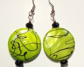 Yellow Green Mother of Pearl Earrings