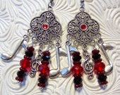 Musical Notes Earrings in Red and Black