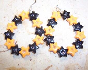 OSU Orange and Black Star Hoop Earrings, Orange Earrings, Black Earrings, Hoop Earrings, Foiled Star Earrings, Oregon State Earrings