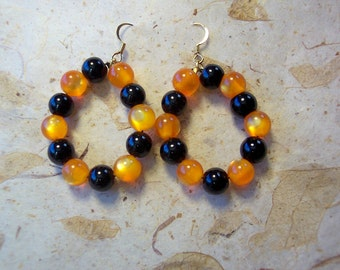 Orange Earrings, Black Earrings, OSU Earrings, Hoop Earrings, Orange and Black Glass Earrings