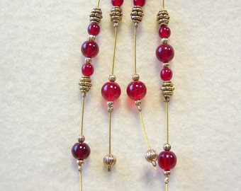 Red and Gold Whispy Dangle Earrings 5 Inch
