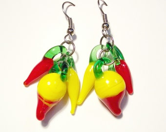 Red and Yellow Turnip with Chili Pepper Earrings