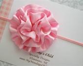 Pink Satin Puff Headband - Baby Headbands, Newborn Headbands, Baby Girl Headbands