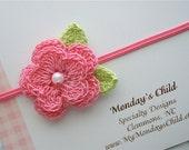 Crochet Flower Headband in Pink Pearl - Baby Headband, Newborn Headband, Toddler Headband