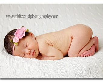 Pink Felt Flower Headband, Felt Flower Crown, Baby Flower Crown, Baby Flower Headband, Baby Headband, Newborn Headband, Toddler Headband