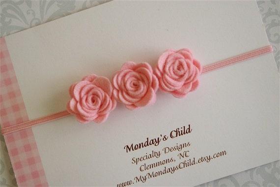 Felt Flower Headband - Little Rosebuds in Pink - Newborn Baby Headbands to Adult