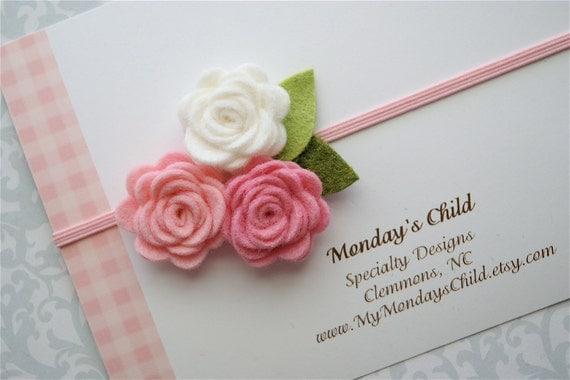 Felt Flower Headband in Pink and White Roses - Felt Headband, Felt Baby Headband, Newborn Headband, Toddler Headband, Baby Headband