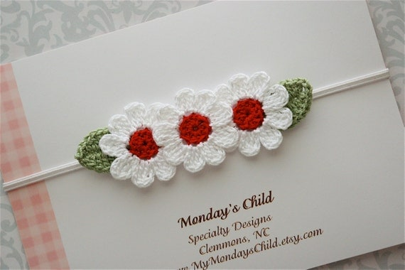 Valentines Day Headband - Crochet Flower Headband in Red and White - Baby Headbands to Adult