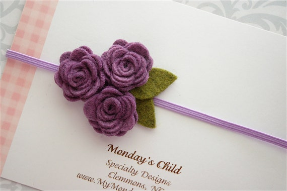 Felt Flower Headband - Felt Flower Headband in Purple - Newborn Baby Headbands to Adult