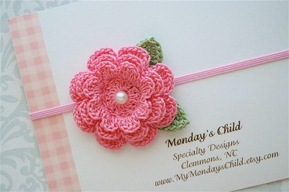 Crochet Flower Headband in Pink  - Baby Headbands to Adult
