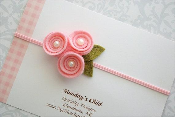 Felt Flower Headband in Pink Pearl Posy - Newborn Baby Headbands to Adult