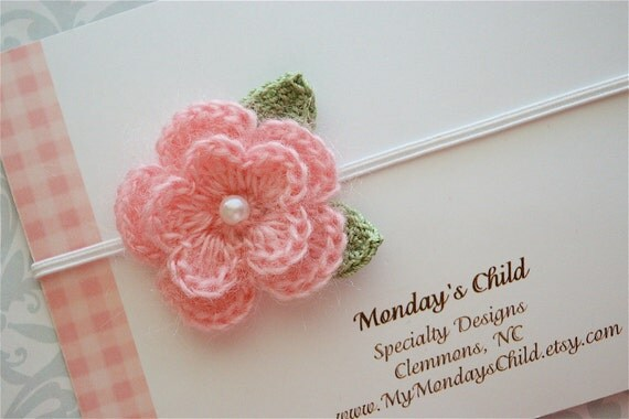 Crochet Flower Headband in Pink Mohair - Baby Headbands to Adult