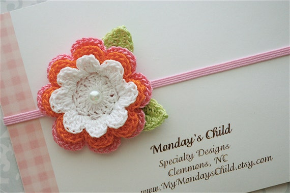 Crochet Flower Headband in Pink and Orange - Baby Headbands to Adult