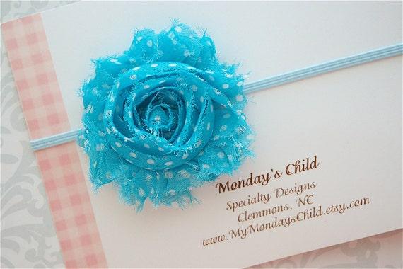 Shabby Chic Headband in Blue Polka Dots - Baby Headbands, Newborn Headbands, Baby Girl Headbands