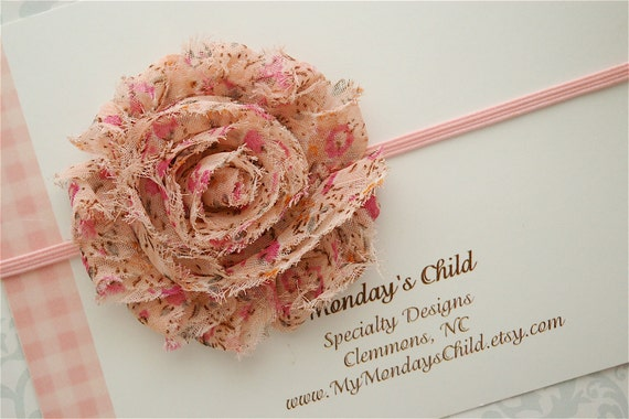Shabby Chic Headband in Pink Meadow - Baby Headbands, Newborn Headbands, Baby Girl Headbands