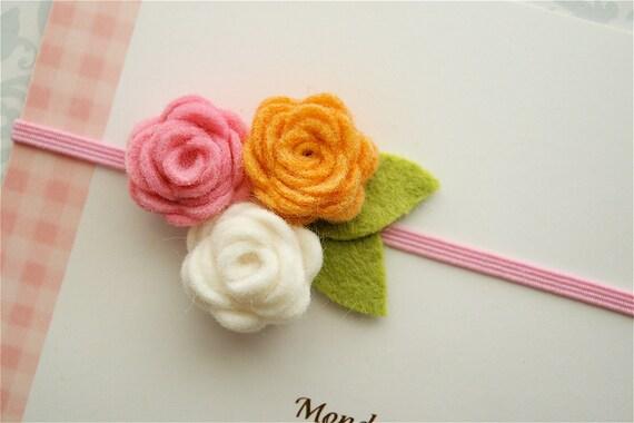 Felt Flower Headband in Peaches and Cream - Felt Baby Headband, Newborn Headband, Toddler Headband, Girls Headband, Baby Headband