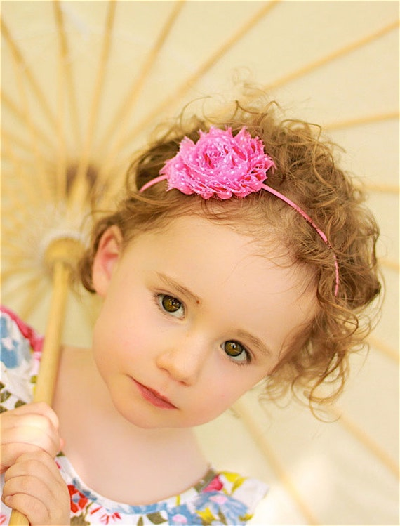 Shabby Chic Headband in Pink Polka Dots - Baby Headband, Newborn Headband, Girls Headband, Toddler Headband