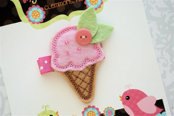 Ice Cream Cone Hair Clip - Felt Ice Cream Cone Hair Clip - Felt Hair Clip