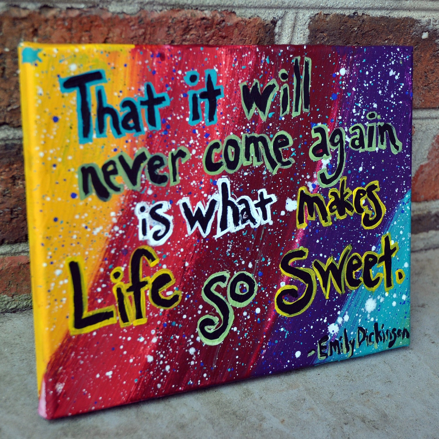 Quotes About Painting: Emily Dickinson Quote Painting On 8x10 Canvas