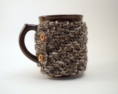 NON-SLIP Brown and Cream Colored Coffee Cup Cozy - Reserved for Kris