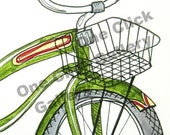Green Bicycle - ACEO Print