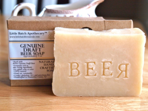 "Beer Soap, unscented ""Genuine Draft"" Handcrafted Natural Hot Process  Mild"
