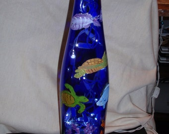 Blue Ocean Turtle bottle light